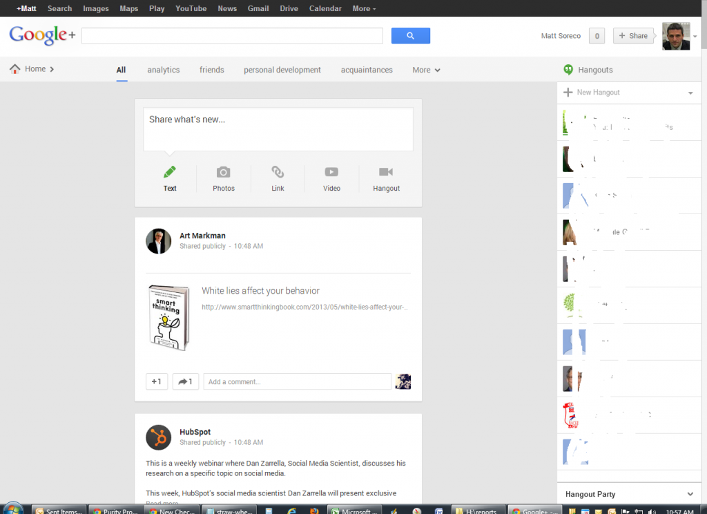 Google Plus Single Column View