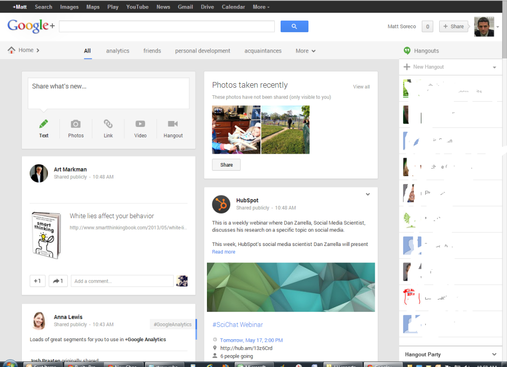 Google Plus Multiple Column View