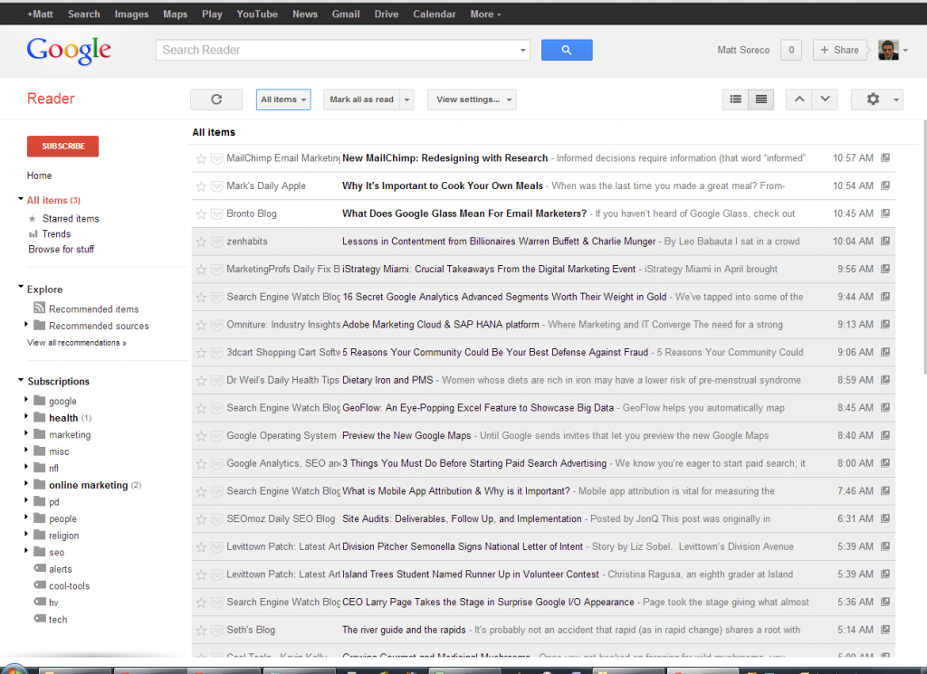 Google Reader Compact View